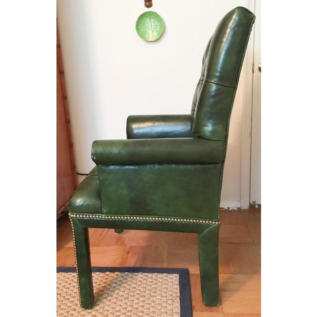 The MT Company Emerald Green Moore & Giles Leather Tufted Armchair For Sale - Image 4 of 7