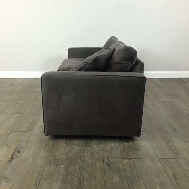 Room & Board Charcoal Suede Sofa - Image 8 of 11