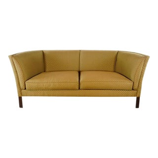 Pearson Vintage Tan Leather Upholstered Two Cushion Sofa For Sale