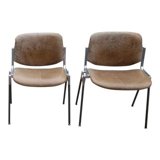 Industrial Castelli Piretti Leather Stacking Chairs - a Pair