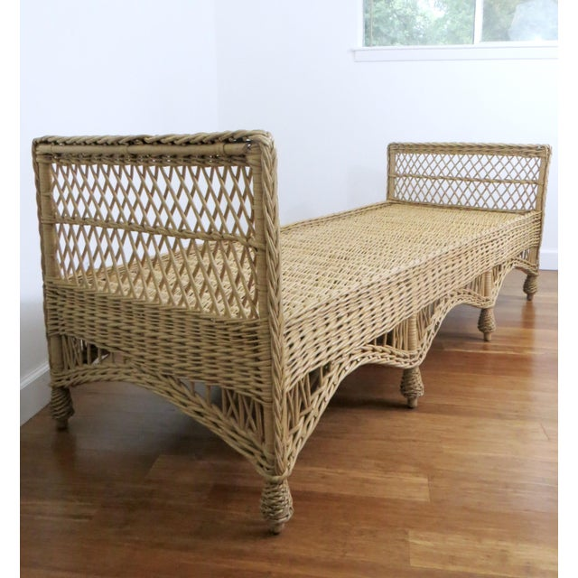 Brown Vintage Wicker Rattan Daybed by Bar Harbor For Sale - Image 8 of 8