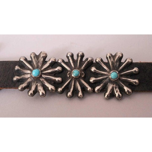 Early 20th Century Native American Silver and Turquoise Concho Belt With Original Leather Strap For Sale - Image 5 of 8