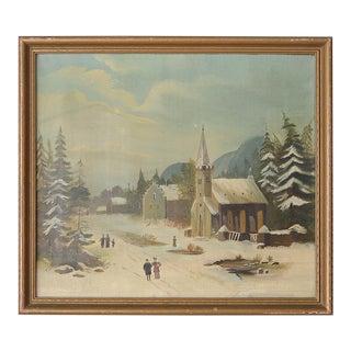 German Winter Scene Alpine Village Painting For Sale