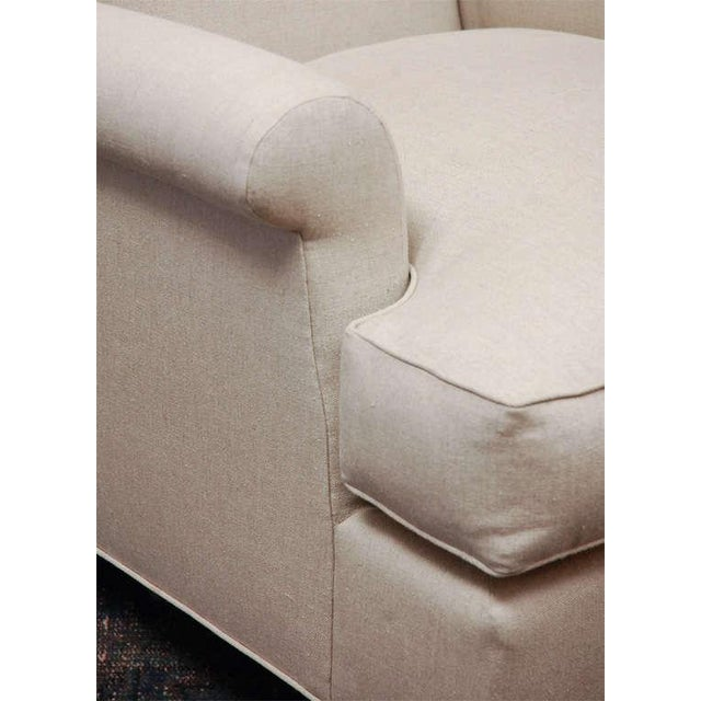 "Traditional ""Worrell"" by Lee Stanton English Wing Chair in Belgian Linen or Custom Fabric For Sale - Image 3 of 11"