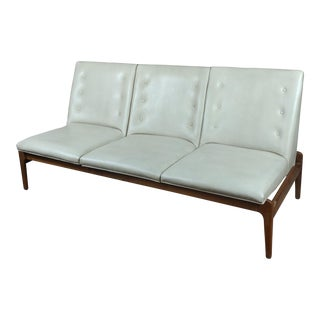 Mid-Century Danish Teak & Leather Sofa For Sale