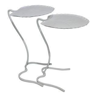 Salterini Lily Pad Nesting Tables Mid-Century Fresh Painted White - the Pair For Sale