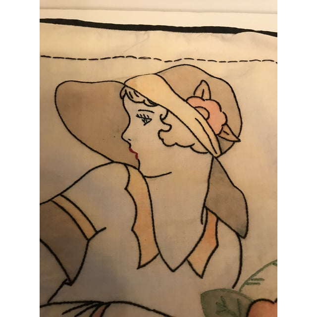 1930s Vintage Embroidered Young Woman Pillow Cover For Sale - Image 4 of 7