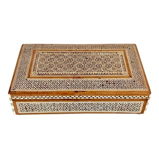 Antique Moroccan Inlay Mother of Pearl Jewelry Box For Sale