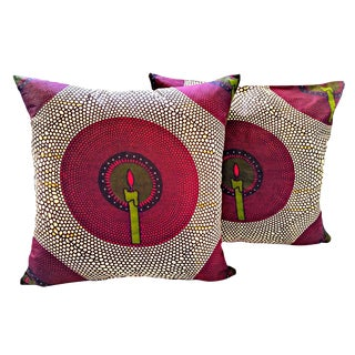 African Print Candlelit Fabric Pillow Covers - a Pair For Sale