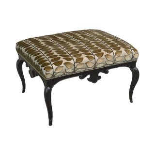 French Louis XV Style Black Painted Large Ottoman Footstool
