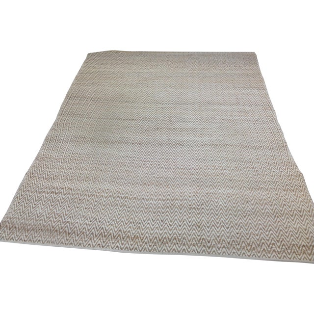 Chevron Rug in Beige and White - 9′ × 12′ - Image 1 of 9