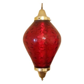 1960s Red Bubble Glass Swag Lighting