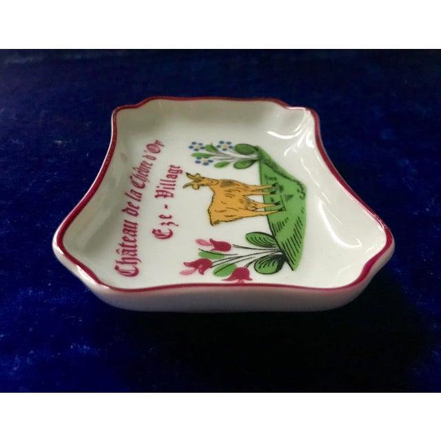French Vintage Chateau De La Chèvre d'Or Eze Village French Limoges Trinket Soap Dish For Sale - Image 3 of 8
