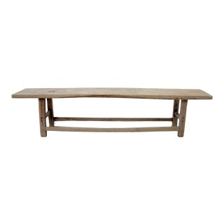 Antique Elm Wood Coffee Table Bench For Sale