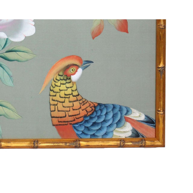 Vintage Hand-Painted Chinoiserie Wallpaper Remnant Painting of a Pheasant on Celedon Silk For Sale - Image 4 of 7