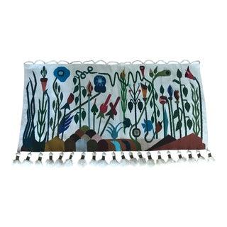 1990's Vintage Handmade Floral Tapestry