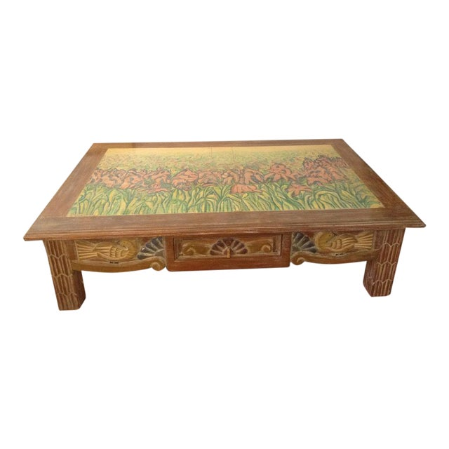 Disenos Caaesa Mexican Painted & Carved Coffee Table For Sale