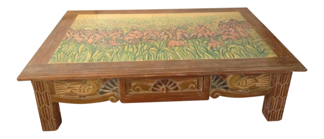 Disenos Caaesa Mexican Painted U0026 Carved Coffee Table