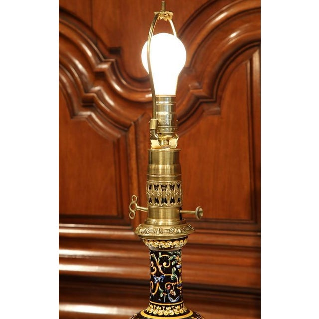 Bronze French Hand-Painted Porcelain & Bronze Oil Lamps - A Pair For Sale - Image 7 of 10