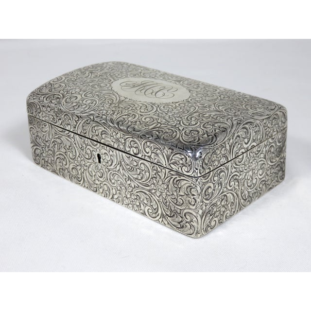 Silver Antique 1900s Victorian Sterling Silver Jewelry Box For Sale - Image 8 of 13