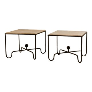 Large 'Entretoise' Cream Travertine Side Tables by Design Freres - a Pair For Sale