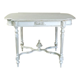 19th Century French Louis XVI Painted End Table ~ Center Table For Sale