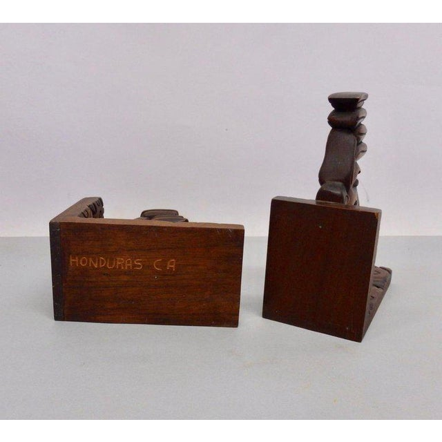 Folk Art Carved Tiki Bookends - a Pair For Sale - Image 3 of 7
