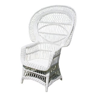 1970s French White Peacock Wicker Chair For Sale
