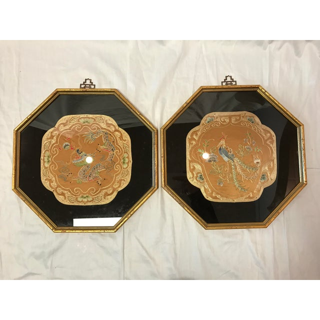 Vintage Octagonal Framed Chinese Embroidered Fabric Panels- A Pair - Image 2 of 5