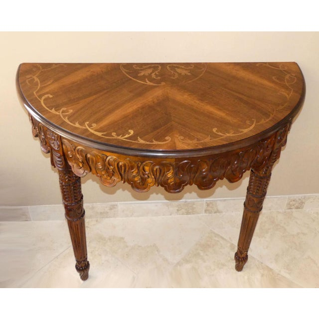 Italian Hand Carved Inlaid Wood Demilune Console Table For Sale - Image 4 of 13