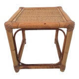 Image of 1980s Boho Chic Rattan Square Cocktail Table For Sale