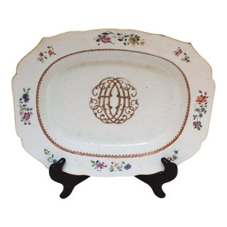 Late 18th Century Chinese Monogram Platter For Sale