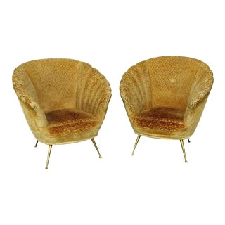 Pair of Italian Modern Shell Form Club Chairs For Sale