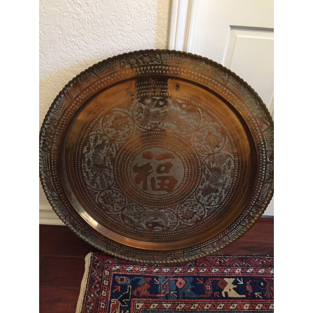 MCM Oriental Brass Tray Table - Image 3 of 10