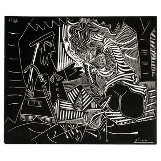 """Pablo Picasso Luncheon on the Grass (White) 23"""" X 27.25"""" Lithograph 1972 Cubism Black & White For Sale"""