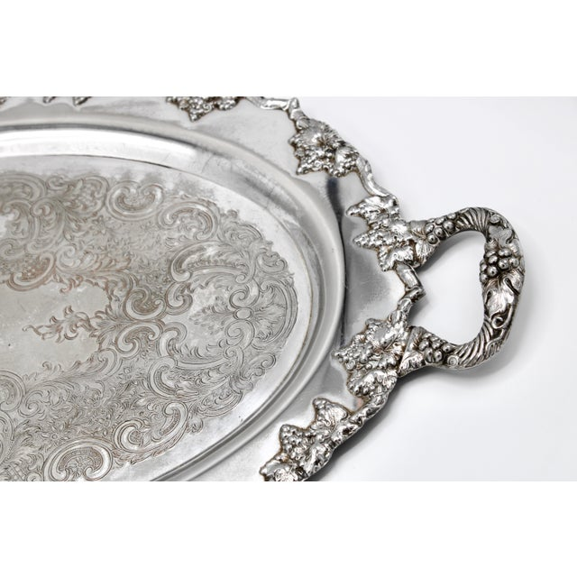Silver Mid-Century Silver Plate Handled Serving Tray For Sale - Image 8 of 13
