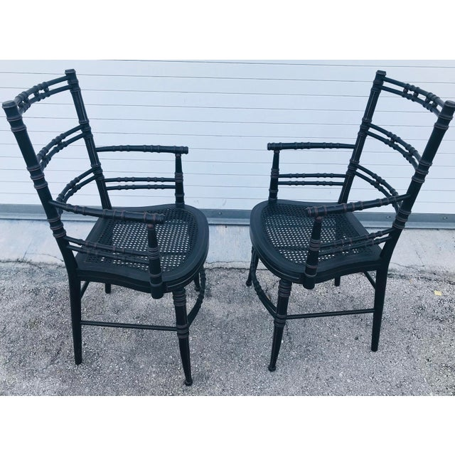 1970s Vintage Baker Furniture Faux Bamboo Chairs - a Pair For Sale - Image 5 of 11