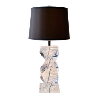 Helix Spiral Lucite Karl Springer Style Lamp
