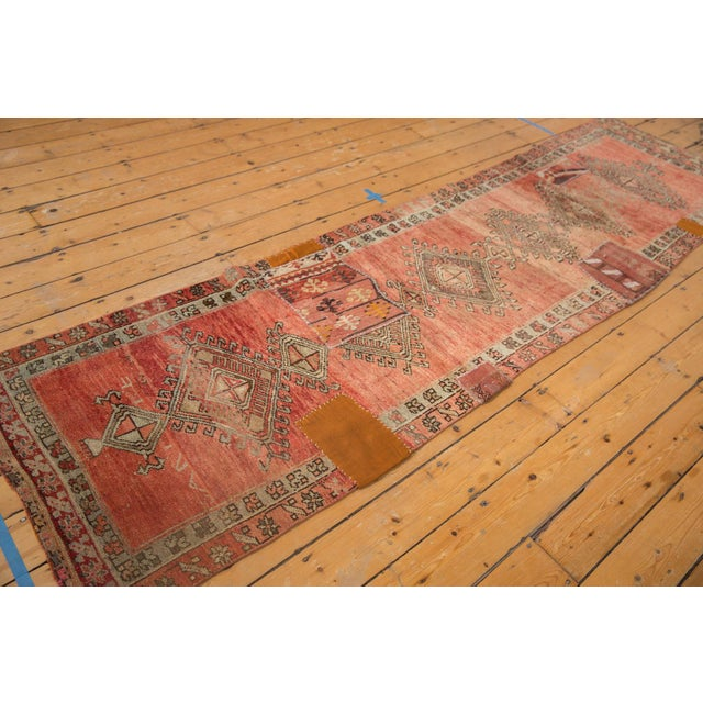 "1950s Vintage Distressed Patchwork Oushak Rug Runner - 2'10"" X 10'7"" For Sale - Image 5 of 12"