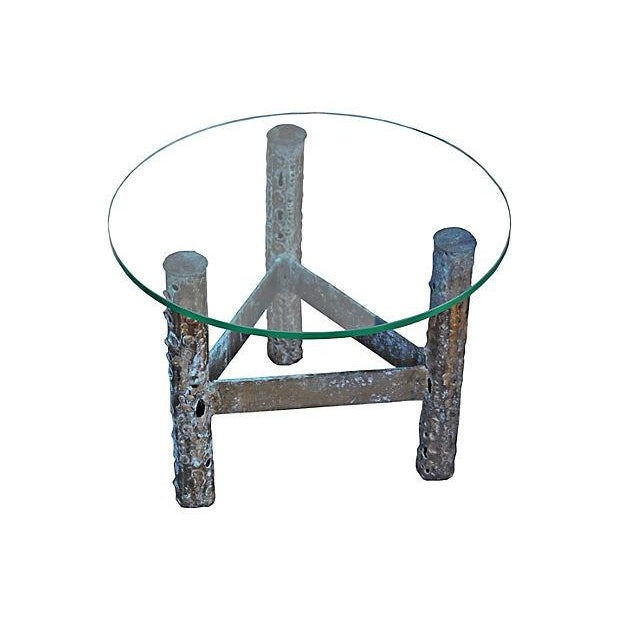 Brutalist Metal & Glass Accent Table - Image 2 of 3