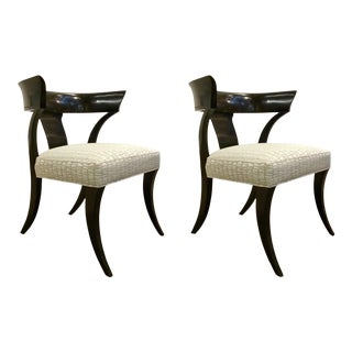 Caracole Modern Black and Gray Klismos Chairs Pair Prototypes For Sale