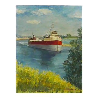 Cs Bunker Vintage Ship Painting For Sale