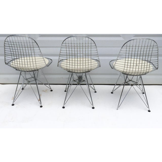 """Boho Chic Mid-Century Modern """"Eiffel"""" Style Chairs - Set of 3 For Sale - Image 3 of 7"""