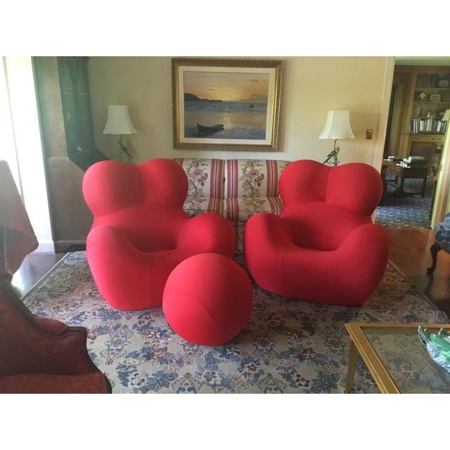 B&b Italia Gaetano Pesce Chairs & Ottoman - Set of 3 - Image 13 of 13