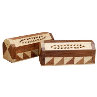 Jointwood Coffin Shaped Incense Burners, a Pair