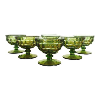Vintage Green Coupe Cocktail Glasses - Set of 6