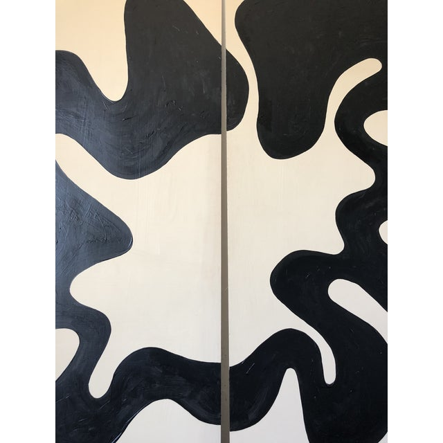 Hannah Polskin original 2018 black and beige abstract acrylic painting on plywood. Loop motif with monochrome color...