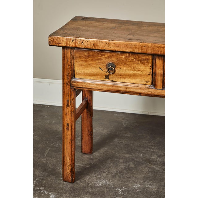 Brown 19th C. Chinese Elm Four Drawer Altar Table For Sale - Image 8 of 10