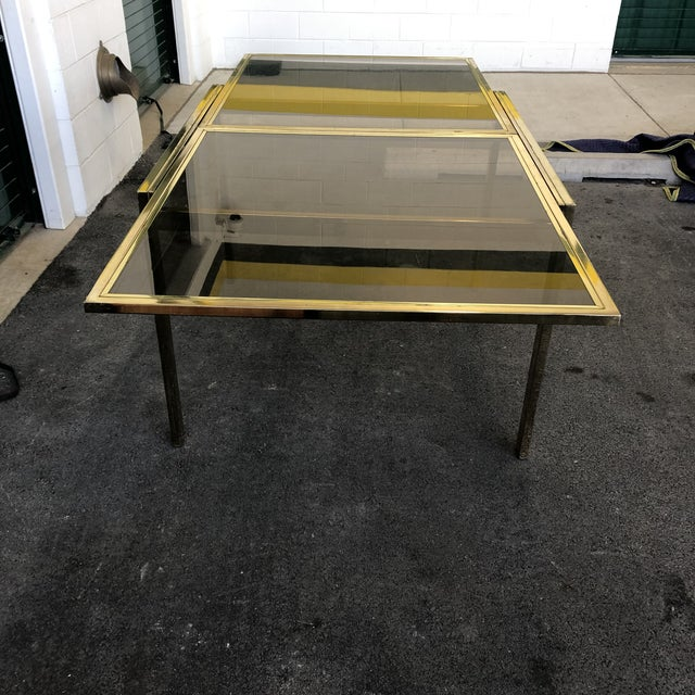 DIA - Design Institute America Vintage Dia Brass Lacquer and Glass Expanding Dining Table For Sale - Image 4 of 13