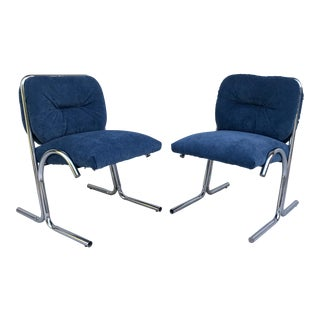 Mid-Century Modern Tubular Chrome Chairs- A Pair For Sale